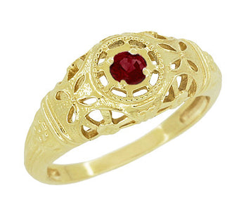 Art Deco Filigree Ruby Ring in 14 Karat Yellow Gold