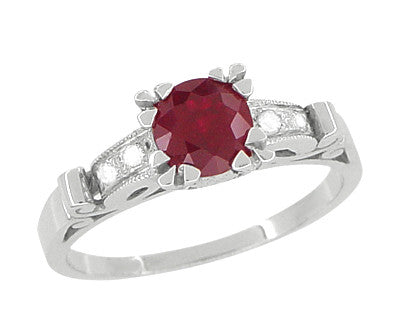 Art Deco Ruby and Diamond Engagement Ring in Platinum - Item: R699P - Image: 3
