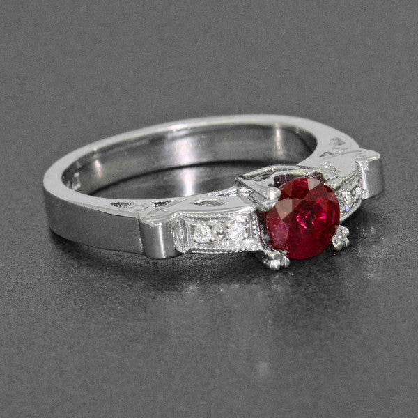 Art Deco Ruby and Diamond Engagement Ring in Platinum - Item: R699P - Image: 4