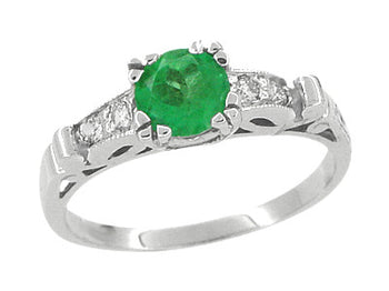 Art Deco Vintage Style Emerald and Diamonds Engagement Ring in 18 Karat White Gold
