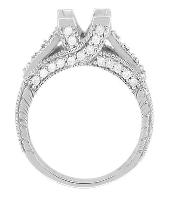 X & O Kisses 1 Carat Princess Cut Diamond Engagement Ring Setting in 18 Karat White Gold