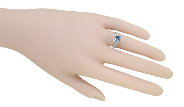 X & O Kisses 1 Carat Princess Cut Aquamarine Engagement Ring in 18 Karat White Gold - Item: R701A - Image: 5