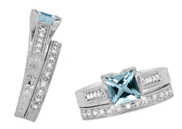 X & O Kisses 1 Carat Princess Cut Aquamarine Engagement Ring in 18 Karat White Gold - Item: R701A - Image: 6