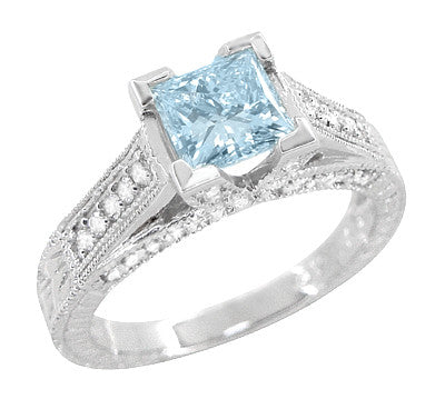 X & O Kisses 1 Carat Princess Cut Aquamarine Engagement Ring in 18 Karat White Gold - Item: R701A - Image: 1