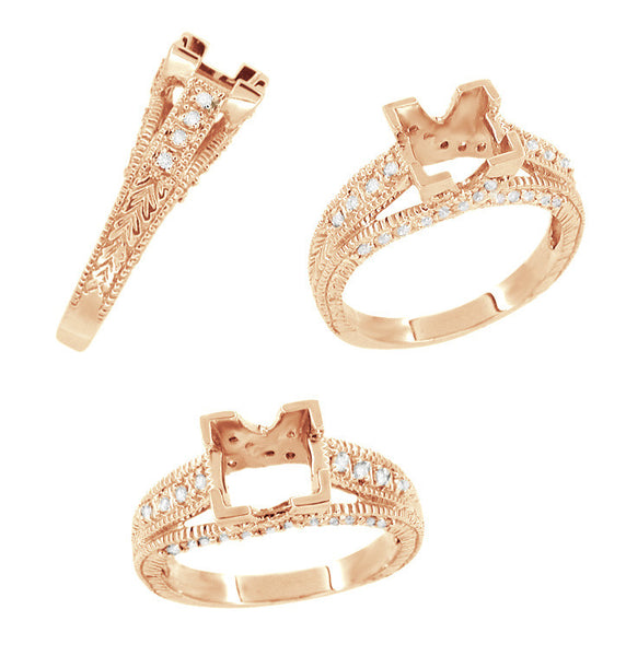 X & O Kisses 1 Carat Princess Cut Diamond Engagement Ring Setting - 14 Karat Rose ( Pink ) Gold - Item: R701R - Image: 1