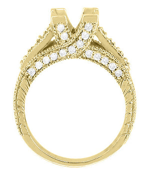 X & O Kisses 1 Carat Princess Cut Diamond Engagement Ring Setting in 18 Karat Yellow Gold