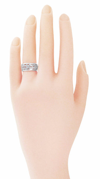 Retro Moderne Scrolls and Leaves Engraved Filigree Wide Wedding Ring in 14 Karat White Gold - 8.5mm - Size 5 - Item: R702 - Image: 1