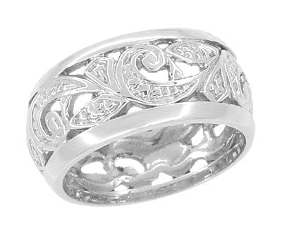 Retro Moderne Scrolls and Leaves Engraved Filigree Wide Wedding Ring in 14 Karat White Gold - 8.5mm - Size 5