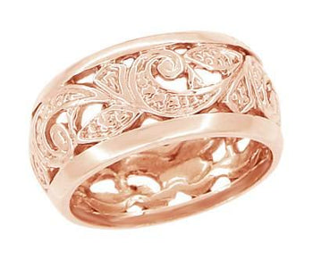 Retro Moderne Scrolls and Leaves Filigree 8.5mm Wide Wedding Ring in 14 Karat Rose ( Pink ) Gold | Size 5.5