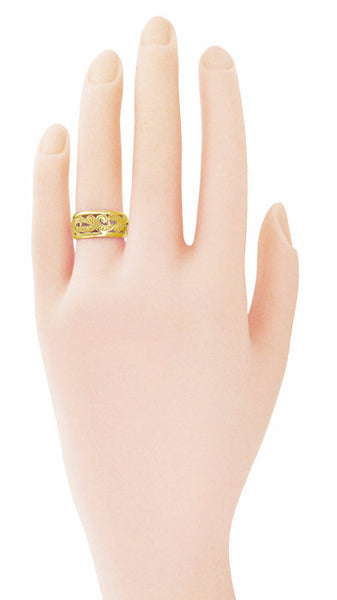 Retro Moderne Scrolls and Leaves Filigree Wedding Ring in 14K  - 8.5mm Wide - Size 5.5 - Item: R702Y - Image: 1