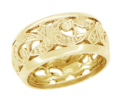 Retro Moderne Scrolls and Leaves Filigree Wedding Ring in 14K  - 8.5mm Wide - Size 5.5