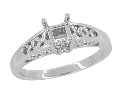 Flowers and Leaves Art Nouveau Filigree Engagement Ring Mount for a 1/2 Carat Princess, Asscher, Radiant, or Cushion Cut Diamond in 14 Karat White Gold - Item: R704PR - Image: 1