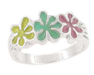 1960's Mod Enameled Flowers Ring in 14 Karat White Gold