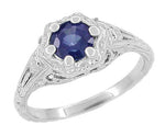 Art Deco Filigree Flowers Sapphire Engagement Ring in 14 Karat White Gold
