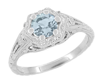 Art Deco Filigree Flowers Aquamarine Engagement Ring in 14 Karat White Gold