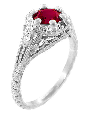 Art Deco Filigree Flowers Lab Created Ruby Engagement Ring in 14 Karat White Gold - Item: R706WCR - Image: 1