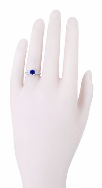 Art Deco Filigree Flowers Lab Created Sapphire Engagement Ring in 14 Karat White Gold - Item: R706WCS - Image: 3