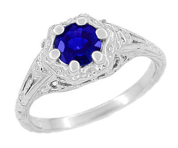 Art Deco Filigree Flowers Lab Created Sapphire Engagement Ring in 14 Karat White Gold