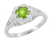 Filigree Flowers Art Deco Peridot Engagement Ring in 14 Karat White Gold