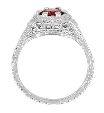 Art Deco Filigree Flowers Ruby Engagement Ring in 14 Karat White Gold - Item: R706WR - Image: 2