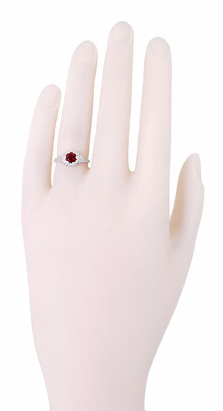 Art Deco Filigree Flowers Ruby Engagement Ring in 14 Karat White Gold - Item: R706WR - Image: 3
