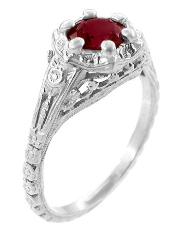 Art Deco Filigree Flowers Ruby Engagement Ring in 14 Karat White Gold - Item: R706WR - Image: 1
