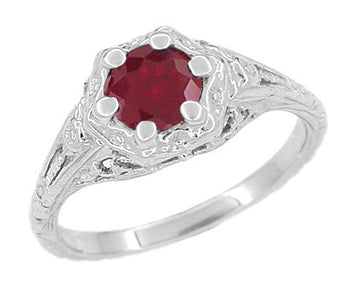 Art Deco Filigree Flowers Ruby Engagement Ring in 14 Karat White Gold