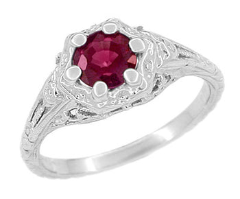 Art Deco Filigree Flowers Rhodolite Garnet Engagement Ring in 14 Karat White Gold