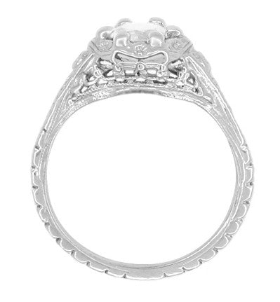 Art Deco Filigree Flowers Vintage Style White Sapphire Engagement Ring in 14K White Gold - Item: R706WWS - Image: 2