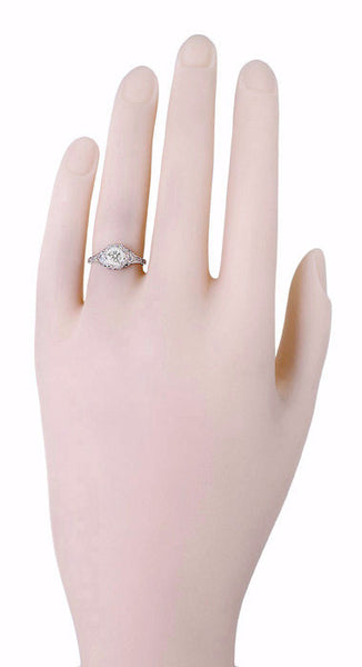 Art Deco Filigree Flowers Vintage Style White Sapphire Engagement Ring in 14K White Gold - Item: R706WWS - Image: 3