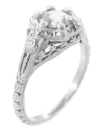 Art Deco Filigree Flowers Vintage Style White Sapphire Engagement Ring in 14K White Gold - Item: R706WWS - Image: 1