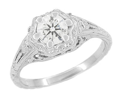 Art Deco Filigree Flowers Vintage Style White Sapphire Engagement Ring in 14K White Gold