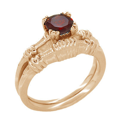 Art Deco Hearts and Clovers Almandine Garnet Engagement Ring in 14 Karat Rose ( Pink ) Gold - Item: R707 - Image: 2