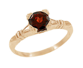 Art Deco Hearts and Clovers Almandine Garnet Engagement Ring in 14 Karat Rose ( Pink ) Gold