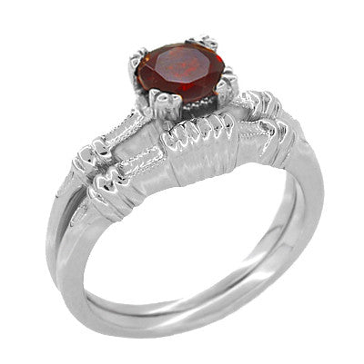 Art Deco Clovers and Hearts Almandine Garnet Engagement Ring in 14 Karat White Gold - Item: R707W - Image: 2