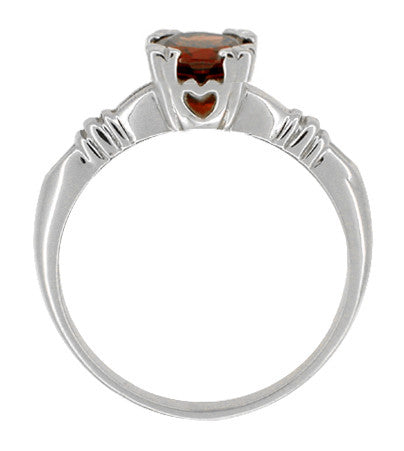 Art Deco Clovers and Hearts Almandine Garnet Engagement Ring in 14 Karat White Gold - Item: R707W - Image: 1