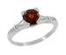Art Deco Clovers and Hearts Almandine Garnet Engagement Ring in 14 Karat White Gold