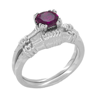 Art Deco Clovers and Hearts Rhodolite Garnet Engagement Ring in 14 Karat White Gold - Item: R707WRG - Image: 2