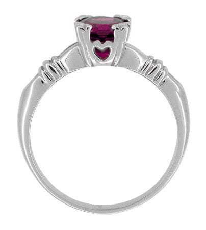 Art Deco Clovers and Hearts Rhodolite Garnet Engagement Ring in 14 Karat White Gold - Item: R707WRG - Image: 1