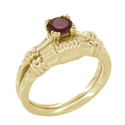 Art Deco Hearts and Clovers Almandine Garnet Engagement Ring in 14 Karat Yellow Gold - Item: R707Y - Image: 2