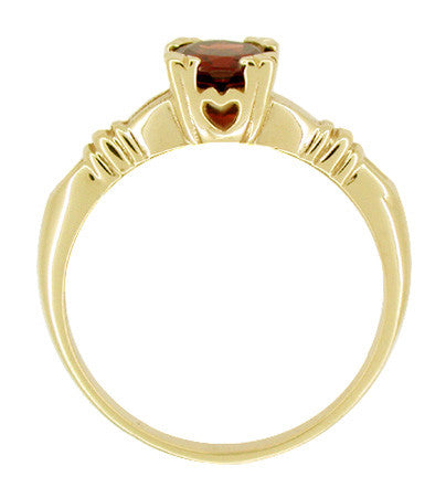 Art Deco Hearts and Clovers Almandine Garnet Engagement Ring in 14 Karat Yellow Gold - Item: R707Y - Image: 1