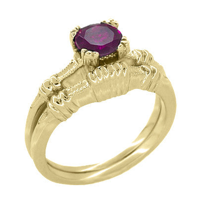 Art Deco Hearts and Clovers Rhodolite Garnet Engagement Ring in 14 Karat Yellow Gold - January Birthstone - Item: R707YRG - Image: 2