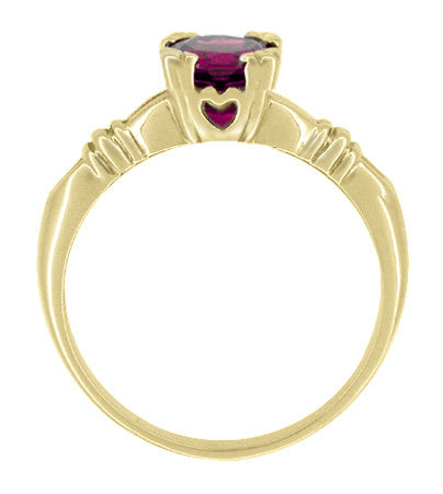 Art Deco Hearts and Clovers Rhodolite Garnet Engagement Ring in 14 Karat Yellow Gold - January Birthstone - Item: R707YRG - Image: 1