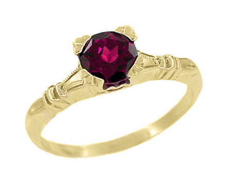 Art Deco Hearts and Clovers Rhodolite Garnet Engagement Ring in 14 Karat Yellow Gold - January Birthstone