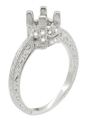 Art Deco Tapered Edge Engraved Crown Engagement Ring Setting for a 3/4 Carat Diamond in White Gold - 14K or 18K