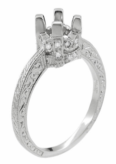Art Deco Platinum Crown 1 Carat Diamond Engagement Ring Setting - Item: R709 - Image: 1