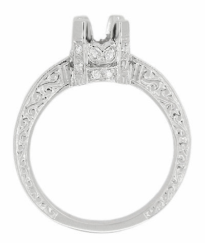 Art Deco Platinum Crown 1 Carat Diamond Engagement Ring Setting