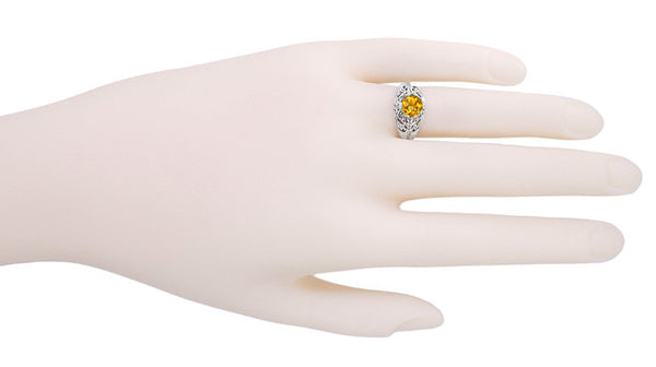 Edwardian Citrine Filigree Engagement Ring in 14 Karat White Gold - November Birthstone - Item: R712 - Image: 2