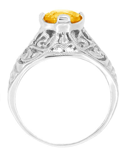 Edwardian Citrine Filigree Engagement Ring in 14 Karat White Gold - November Birthstone - Item: R712 - Image: 1