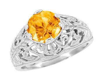 Edwardian Citrine Filigree Engagement Ring in 14 Karat White Gold - November Birthstone
